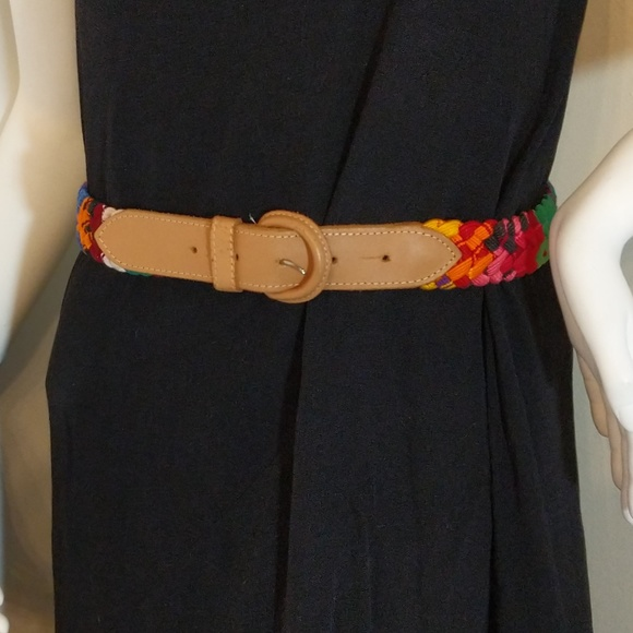 Accessories - Colorful Braided Festival Belt w/ Leather Buckle S